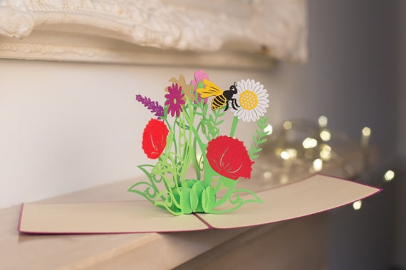 Wild Flowers Pop Up Card 60th Birthday