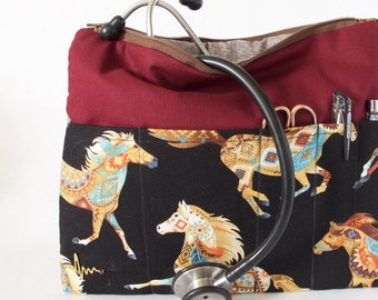 Aztec Horse Stethoscope Bag. Vet Tech Gift. Vet Organizer Bag. Medical School Bag. Horse Lover Vet Gift. Horse Vet Bag. Vet Tech Student Bag