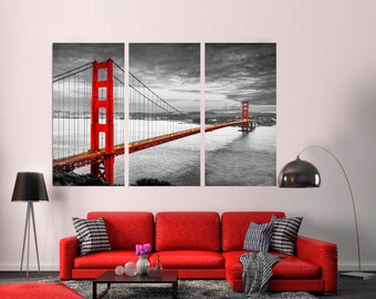 San Francisco Golden Gate Bridge Black And White Canvas Print  3 Panel  Split, Triptych. SF City Color Print For Wall Decor, Interior Design