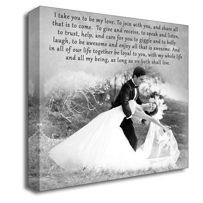 Wedding Gift First Dance Custom Canvas Print  Wedding Songs, Lyrics, Vows   Wedding/Anniversary Gift  Gallery Wrapped  Black and White 16x16