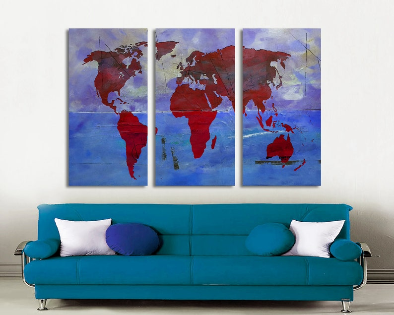 1.5 deep frames Abstract map 3 Panel Split Abstract World Map Canvas Print Art for home or office decor /& interior design.