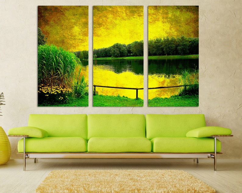 room decor. 3 Panel Split Canvas Print for interior room decor 1.5 deep frames Triptych Beautiful Green Forest River