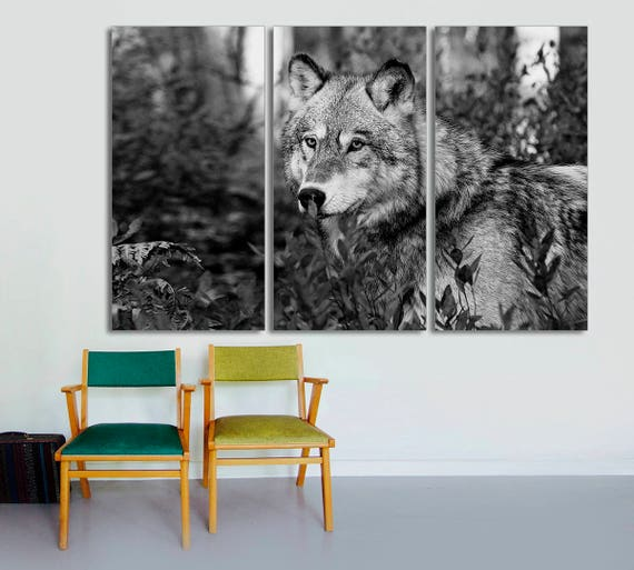 3 Panel Split Canvas Print 15 Deep Frames Gray Wolf Etsy