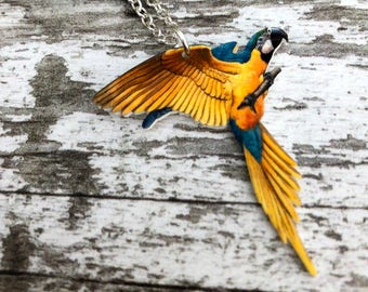 Blue and Gold Macaw Necklace,Parrot Jewellery, Parrot Necklace, Bird Jewelry, Bird Jewellery, Parrot Lover Gift, Bird lover Gift