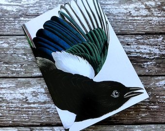 Magpie Notebook, Magpie Notepad, Bird Notebook, Bird Notepad, Magpie Book, Magpie Jotter, Note Book, Squared Pages, Magpie