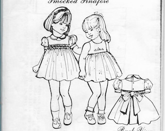 children etsy Plus Size Pinafore girls molly dress pattern smocked pinafore size 5 6 children patterns vintage 1983
