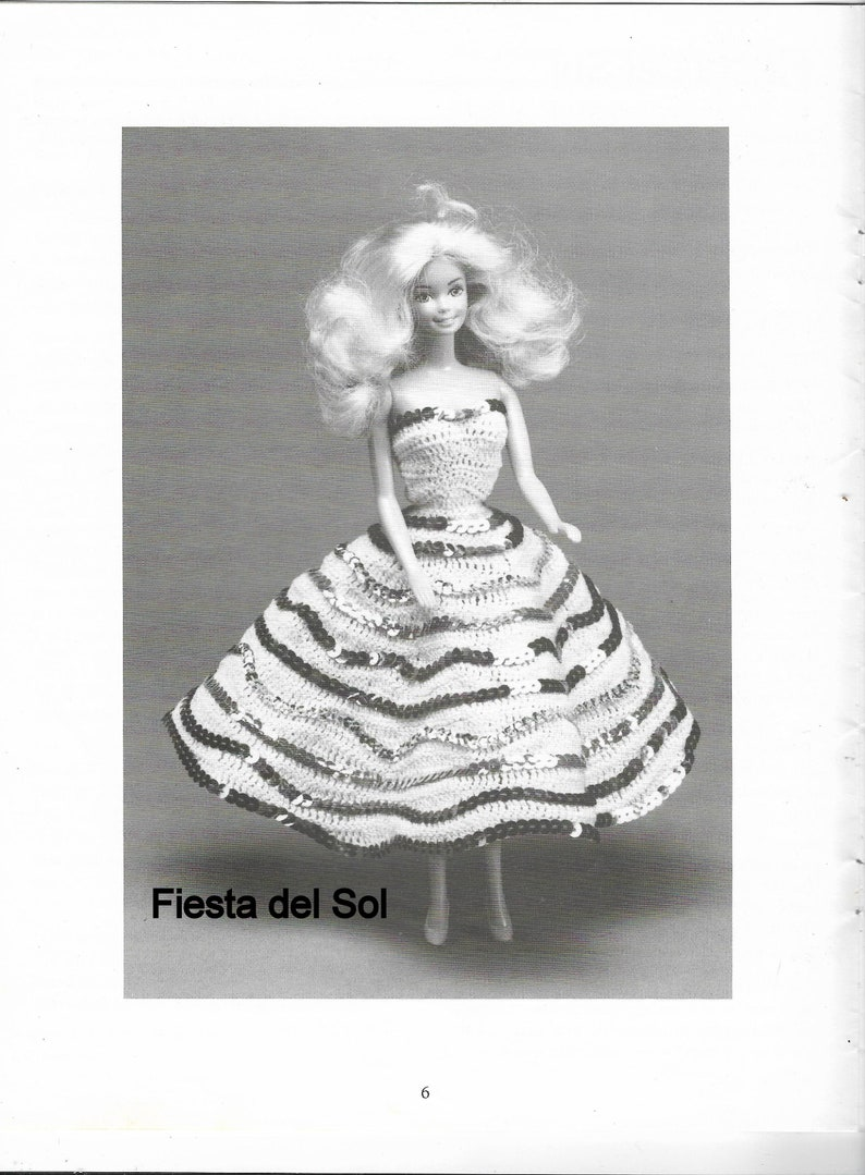 Original Booklet 17 pages by Miriam Dow 1990s Fashion Doll Costume Party Thread Crochet Fashion Patterns Size 11.5 Inches 6 Styles