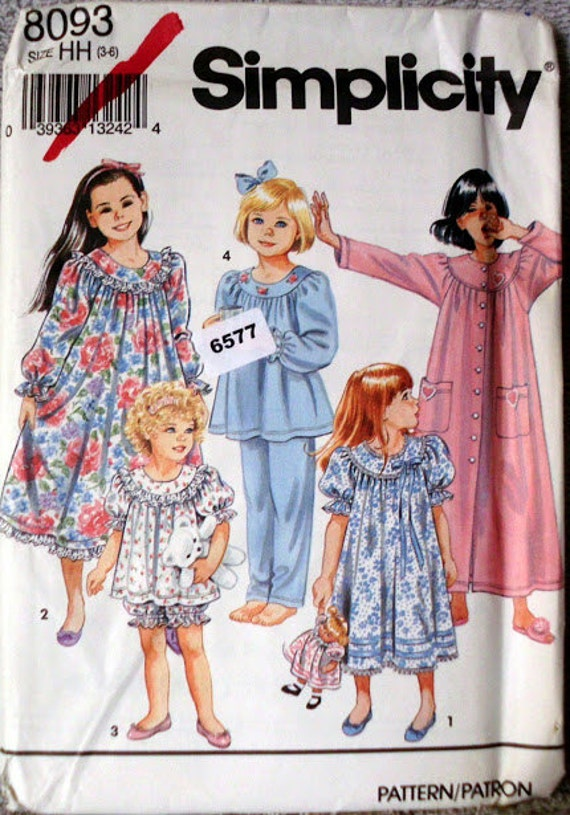 5eefc589de Nightgown Nightwear Girls Pajamas Size HH 3-6 Sewing Pattern