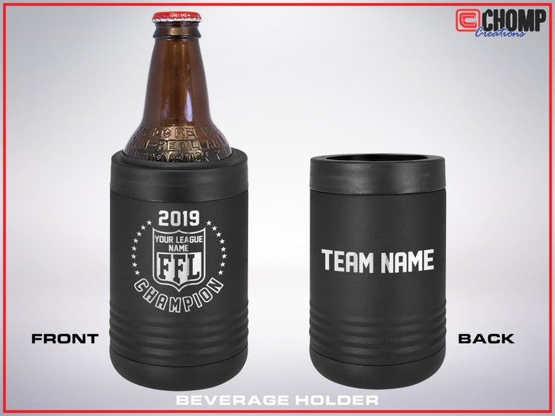 Choose your size. Custom Engraved with Your League and Championship Team Names Stainless Steel Mug  Tumbler Fantasy Football Trophy