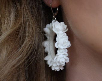 White Lotus 3D Printed Statement Earrings