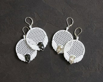 White Dragon 3D Printed Earrings