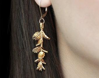 Gold Mint Earrings