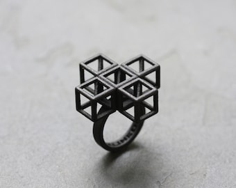 PLUS PUZZLE 3D Printed Ring, Modern Contemporary Wearable Art