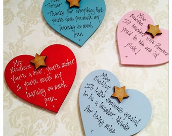 Personalised Teacher gift Fridge Magnets wooden heart Thank you gift for teachers assistants childminders playschool leavers gift