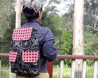 Eclectic Womens Backpack Purse, Hipster Backpack Canvas, Backpack Diaper Bag, Vacation Travel Bag, Floral Backpack Womens Day Pack Purse