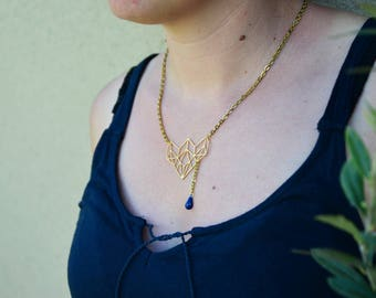 Necklace gold plated geometric pendant and drop blue glazed
