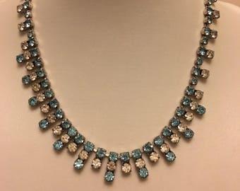 Art Deco Necklace: Vintage Silver Clear and Light Blue Diamanté Bridal Wedding Costume Necklace