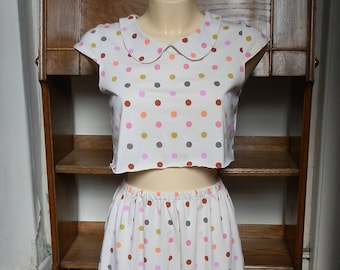 Reclaimed Vintage Cream Spotted Two-Piece Cap Sleeve Crop Top and Mini Skirt Co-Ord with Pink & Orange Polka Dots UK Size 6/10 / US Size 2/6