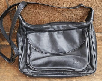 Vintage MIA Black Leather Cross-Body Messenger Shoulder Bag / Purse