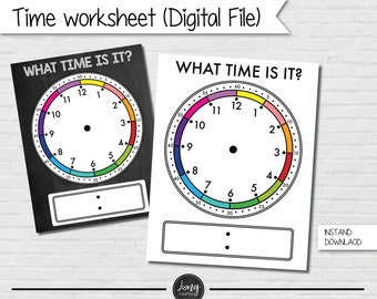 What is the time worksheet for Kids - printable file - instant download -  Learning to Tell The Time Download - Clock Face - learning sheet
