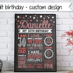 Adult birthday printable - 30th - 40th - 50th - 60th - Printable Birthday Sign - chalkboard print - photo prop - party decoration