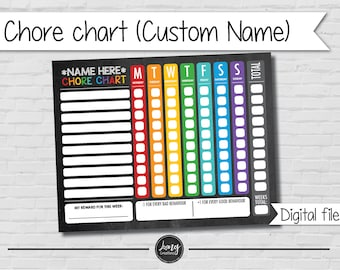Chore Charts for Kids - Customize name - personalized responsibility tracker - printable file - kids chores - Goals & Rewards