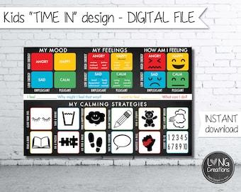 feelings Charts for Kids - time in corner design - kids calming strategies - my mood design - printable file - instant download