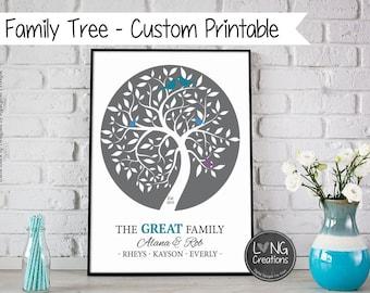 Family Tree Print - Family Tree Wall Art - Custom Family Printable - Modern Home Decor Art -  Personalized tree with birds -