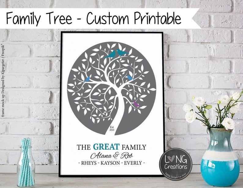 Family Tree Print  Family Tree Wall Art  Custom Family image 0