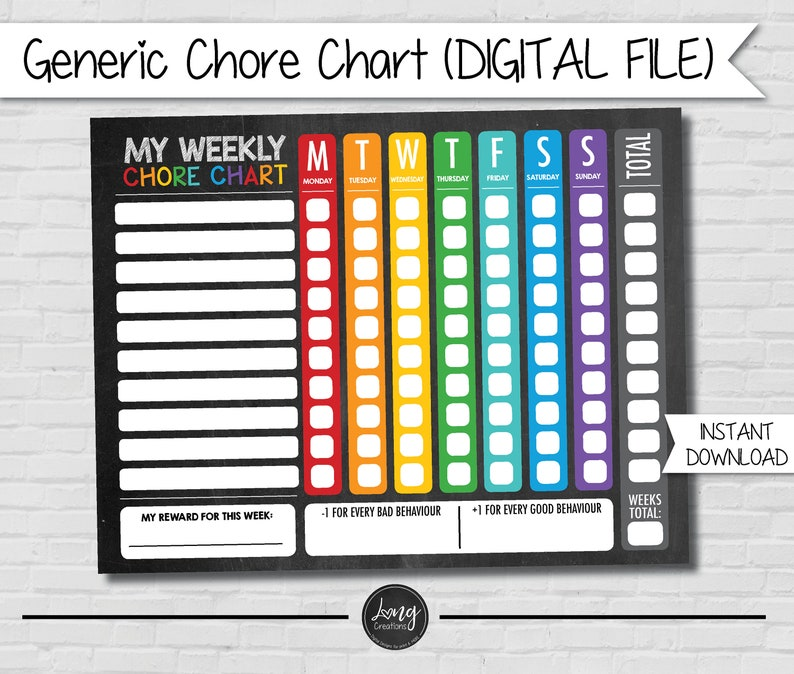 Chore Charts for Kids  printable file  instant download  image 0
