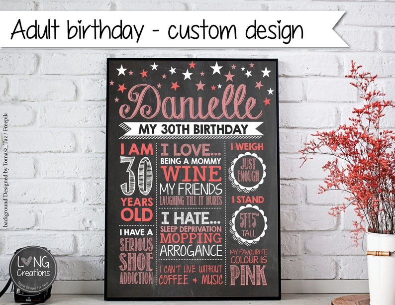 Adult birthday printable  30th  40th  50th  60th  image 0