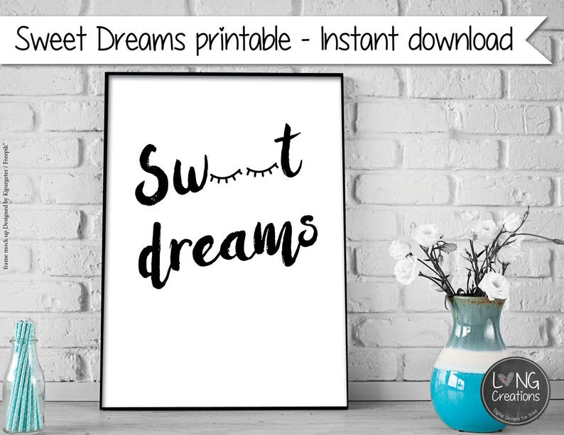 nursery print  sweet dreams art  nursery wall art  simple image 0