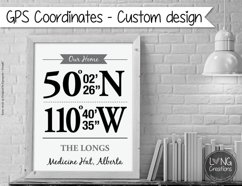 GPS Coordinates Print  Personalized Location Print  GPS sign image 0