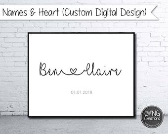 customized couple name - heart design - name sign - family printable - typography design - custom printable - modern wall art - wedding gift