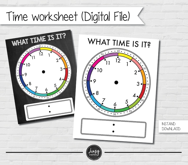 What is the time worksheet for Kids  printable file  instant image 0