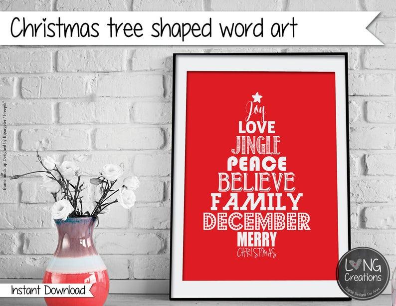 028fa985f8d0 Christmas tree word art typography print christmas decor | Etsy