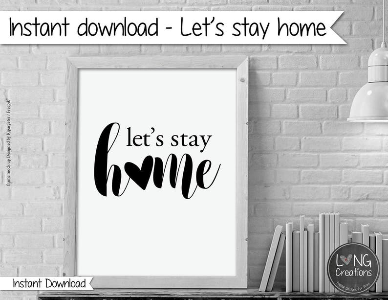 Let's stay home print  lets stay home sign  home decor image 0