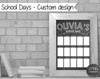 school pictures - school days - display for kids school pictures - preschool to G12 (printable digital file) customize with kids name