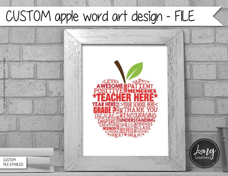 apple Word Art  custom teacher gift  end of year gift  image 0