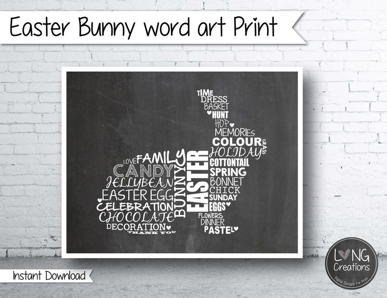 Easter print  bunny sign  bunny shaped word art  easter art image 0
