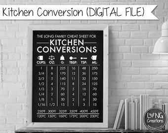 Kitchen measurement conversion chart - kitchen decor - baking conversion - personalized with name Printable wall art - chalkboard print