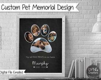 Custom pet memorial - dog / cat loss gift - Pet Bereavement design - paw print photo collage - Pet Sympathy Gift - digital file emailed