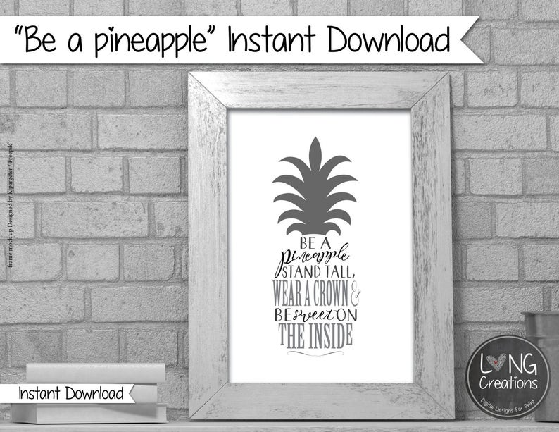 be a pineapple  nursery wall art  kids room print  simple image 0