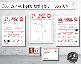 Customized Doctor  - vet- pretend play - printable digital file - personalize with name - custom design
