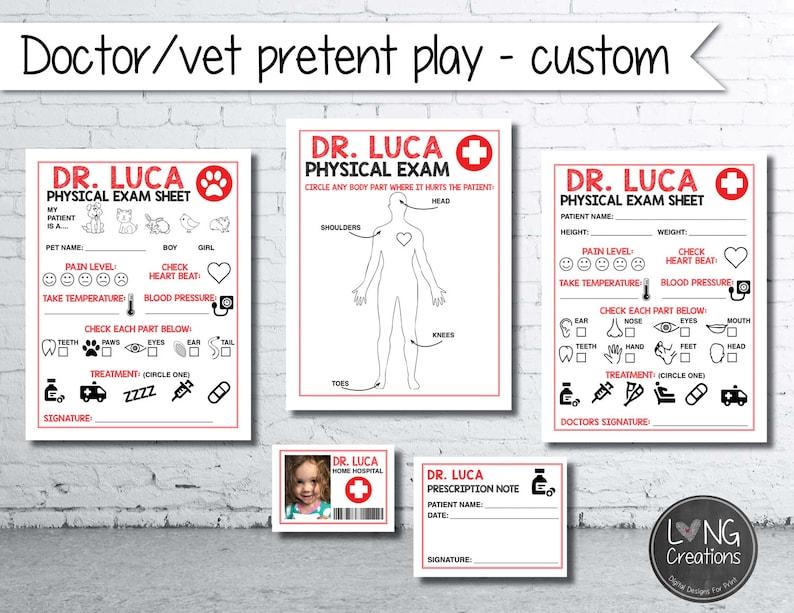 Customized Doctor   vet pretend play  printable digital image 0
