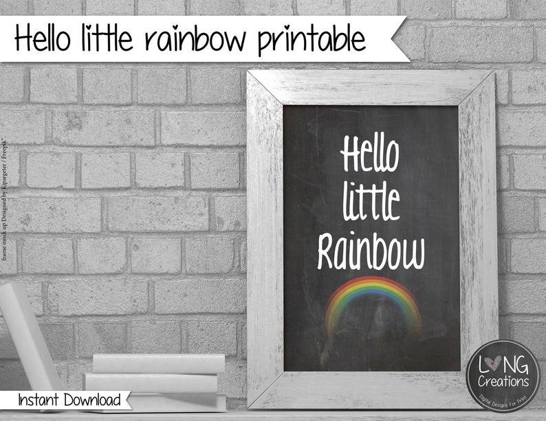 Rainbow print  hello little rainbow  rainbow printable  image 0