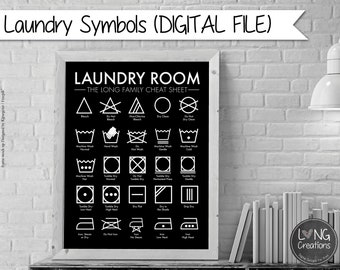 Laundry care symbol chart - laundry cheat sheet - laundry room decor - laundry procedures - laundry chart - personalized with name printable