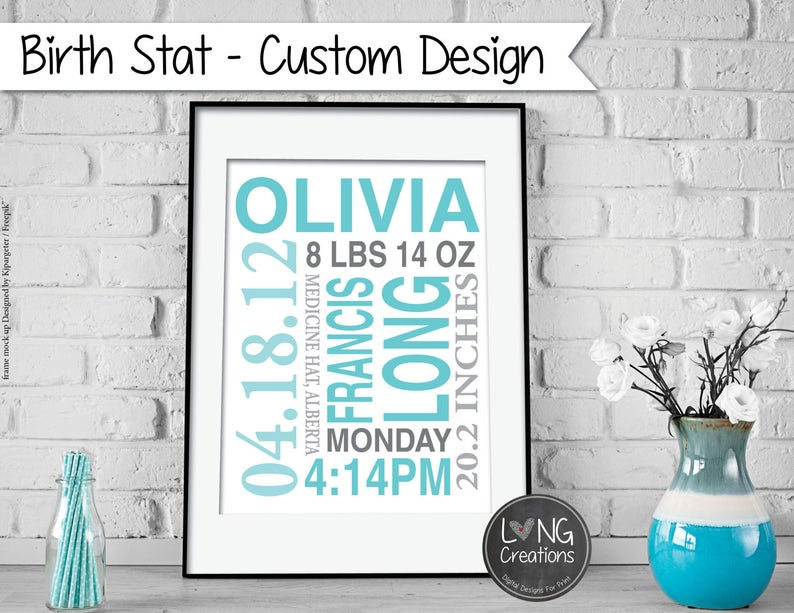 BIRTH STAT print  birth announcement  baby stats  custom image 0
