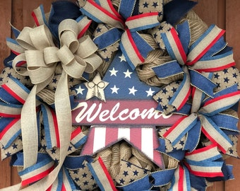 Primitive Welcome Wreath- Red White and Blue Patriotic Wreath