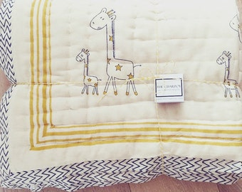 Organic & Hand Block Printed Cotton Baby Toddler Eiderdowns/Quilts in Elephant, Pony, Giraffe and Hippo Patterns - blue, green, pink,